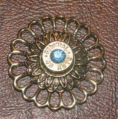 Federal 45 caliber bullet casing flower pendant with aquamarine swarovski rhinestone