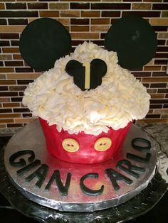 Giant Mickey Mouse cupcake
