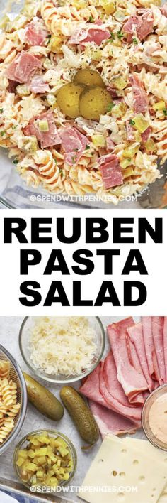 All the flavors of a Reuben Sandwich are found in this cold, easy and creamy Reuben Pasta Salad! A fun twist on the original Reuben Sandwich, this pasta salad is creamy, tangy and easy to create! Make this Reuben Pasta Salad for your next BBQ or potluck! Chicken Salad Recipes, Pasta Recipes, Dinner Recipes, Cooking Recipes, Healthy Recipes, Delicious Recipes, Reuben Sandwich, Salad Sandwich, Sandwiches