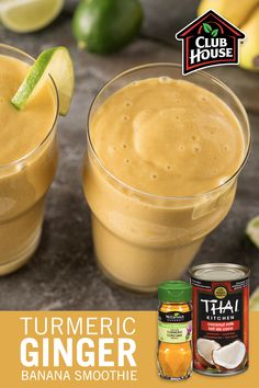 Refuel with a Turmeric Ginger Banana Smoothie! The combination of sweet banana and mango with the warm spices of ginger and turmeric make one deliciously refreshing drink. Ginger Smoothie, Smoothie Drinks, Healthy Smoothies, Healthy Drinks, Smoothie Recipes, Healthy Snacks, Banana Smoothies, Whole Food Recipes, Vegetarian Recipes