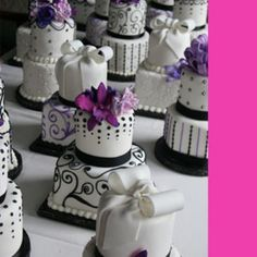 Purple black and white centerpiece cakes by The White Flower Cake Shoppe