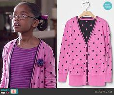 Diane's pink polka dot cardigan on Black-ish Black Ish, Polka Dot Cardigan, Little Diva, Pink Polka Dots, Mini Me, Long Cardigan, Celebrity, Fashion Outfits, Knitting