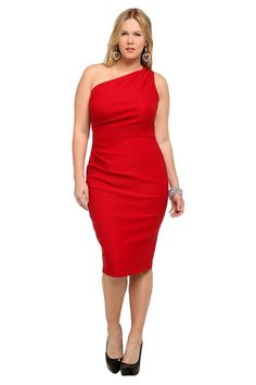 Ceremony dress - Stop Staring! Red One-Shoulder Wiggle Dress by Torrid.  I can't do anything normal.  This dress with beige pumps - LOVE.  Retail:  $120.50