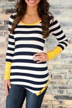 Stylish Scoop Neck Long Sleeve Color Block Striped Women's T-Shirt T-Shirts | RoseGal.com Mobile