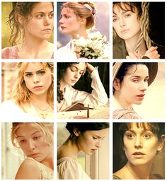 Austen heroines in film. (@Hannah McManus Is the girl on the far left, in the middle row Billie Piper? Cause it looks like her...)