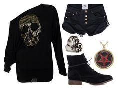 """Skull and demon"" by bleeding-neverland on Polyvore featuring H&M and Steve Madden"
