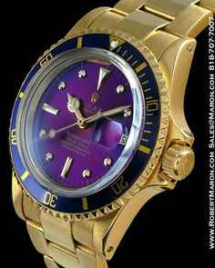 Rolex Submariner with purple dial in 18k Gold.