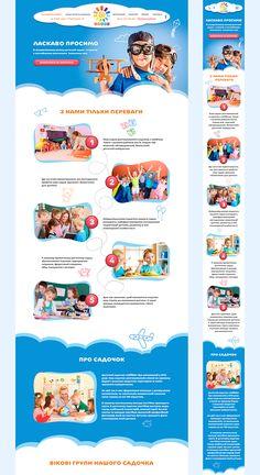 Landing Page Kindergarten.Redesign, Concept on Behance Website Design Layout, Web Design Tips, Web Layout, Website Design Inspiration, Flat Design, Education Website Templates, Cv Web, School Brochure, Kids Web