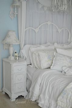 There's Always Room for More British Rose – Sweet Melanie Design Blue Shabby Chic, Romantic Shabby Chic, Shabby Chic Cottage, Shabby Chic Homes, Shabby Chic Decor, All White Bedroom, Blue Bedroom Decor, White Bedrooms, Master Bedroom