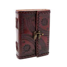Indra Carnet de notes de luxe en cuir de et papier fait à la main avec fermoir - 110 x 160mm: Amazon.fr: Fournitures de bureau