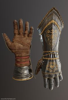 ArtStation - Gauntlets, Eric J Fitch Armadura Cosplay, Armadura Medieval, Armor Clothing, Medieval Clothing, Arm Armor, Body Armor, Fantasy Armor, Fantasy Weapons, Medieval Armor
