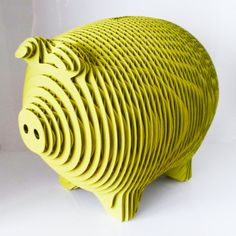 PIGGHI SODDI (..sicilian way of saying get money) Cardboard Piggy Bank entirely handmade and hand painted. Yosemite yellow. Large size 9x7x7 tall