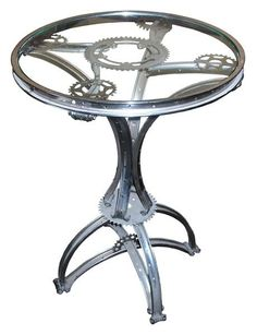 Steam Punk 'Gueridon' table made of Bicycle Parts! @flea_pop