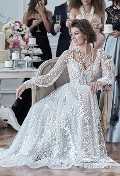 maison signore 2018 bridal long sleeves v neck full embellishment elegant a line wedding dress open back sweep train (drusilla) mv -- Maison Signore's Stunning 2018 Wedding Dresses