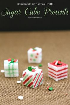 Homemade Christmas Crafts: Sugar Cube Presents (sponsored) christmas crafts food Homemade Christmas Crafts, Christmas Craft Fair, Christmas Tea, Christmas Cookies, Christmas Decorations, Homemade House Decorations, B Recipe, Sugar Cubes, Theme Noel