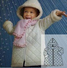 Шьём детское стёганое пальто, выкройки, схемы обработки деталей.