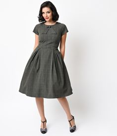 Hell Bunny 1940s Style Grey Glen Plaid Lady Hay Swing Dress $108.00 (Unique Vintage) AT vintagedancer.com