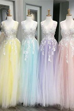 Floor Length Tulle V Neck Prom Dresses with Appliques Floor Length T. - Floor Length Tulle V Neck Prom Dresses with Appliques Floor Length Tulle V Neck Prom Dresses with Appliques Source by - Pretty Prom Dresses, V Neck Prom Dresses, Sweet 16 Dresses, Tulle Prom Dress, Dance Dresses, Ball Dresses, Cute Dresses, Homecoming Dresses, Beautiful Dresses