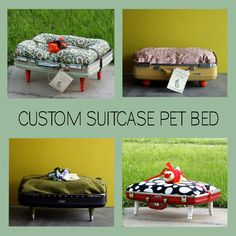 Order a Custom Upcycled Suitcase Pet Bed by DustbunnyVintage, $65.00