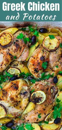 Hands down the BEST Greek chicken you'll try! The secret is in the Greek-seasoned lemon and garlic marinade. Baked with potatoes and onions all in one pan. A must-try! #greekchicken #chicken #bakedchicken #chickenandpotatoes #glutenfree #chickendinner Mediterranean Diet Meal Plan, Mediterranean Chicken, Mediterranean Recipes, Greek Chicken And Potatoes, Greek Lemon Chicken, Italian Chicken, Side Dish Recipes, Easy Dinner Recipes, Easy Meals