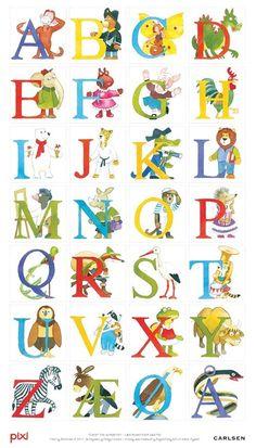 Pixi-alfabet - Plakat Vild med denne - skal have fat i en til ungerne Alphabet Symbols, Alphabet And Numbers, Norse Alphabet, Danish Language, Baby Barn, Drawing Letters, School Decorations, Kids Prints, Kids Education