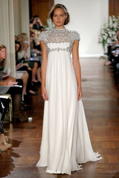 Jenny Packham – Bridal Fall 2013    TAGS:Embellished, Floor-length, Sequined, Short sleeves, Train, High neck, White, Cream, Ivory, Silver, Jenny Packham, Jewelled, Satin, Silk, Tulle, Dramatic, Modern, Romantic