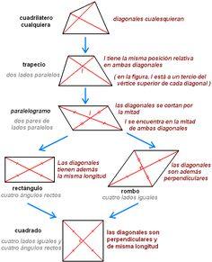 Cuadrilandia Propiedades De Las Diagonales Diagonal Línea Recta Que En Un Polígono Va De Un Vértice A Otro No Inmediato Propiedades Poligono Cuadrilateros