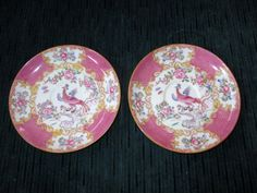 2 Minton COCKATRICE Pink Saucers Maier & Berkele by CRCRUMSEY