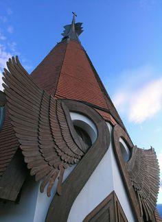 Imre Makovecz's church in Siófok, on the shores of Lake Balaton, Hungary. Photograph: Romeo Reidl/Getty Images