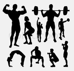 Body builder male and female sport silhouette. Good use for symbol, logo, web icon, mascot, sign, avatar, or any design you want. Easy to use. | vector_preview_title | Colourbox on Colourbox