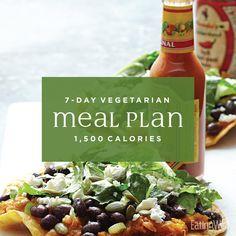Vegetarian Meal Plan: Calories This vegetarian weight-loss meal plan makes it easy to eat your veggies and lose weight. 1500 Calorie Meal Plan, 500 Calorie Meals, Calorie Diet, Paleo Diet Plan, Healthy Diet Plans, Diet Meal Plans, Vegetarian Meal Prep, Going Vegetarian, Vegetarian Recipes