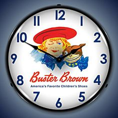 Unique Clock Works - Buster Brown, Vintage Advertising Wall Clock, $124.95 (http://uniqueclockworks.com/backlit-clocks/advertising/buster-brown-vintage-advertising-wall-clock/)