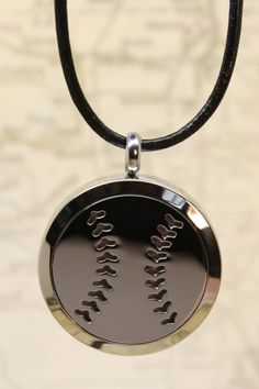 """Baseball"" Stainless Steel Diffuser Necklace- 18-20"" Black Cowhide"