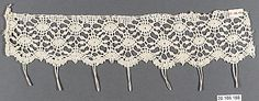 Lace edging, (linen?) bobbin lace, 1500-50, Italian (Genoese). Metropolitan Museum of Art accession no. 20.186.188