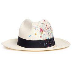 SENSI STUDIO Paint splash Classic Panama hat ($205) ❤ liked on Polyvore featuring accessories, hats, canvas hat, sensi studio, sensi studio hats and panama hat