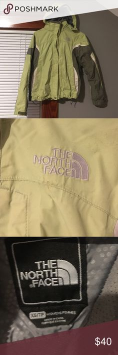 North Face jacket Normal signs of wear. Wore through one whole winter about 4 years ago. Fleece not included. Two-tone jacket with 2 shades of green North Face Jackets & Coats Utility Jackets