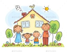 Family with Two Children Near Their House - People Characters