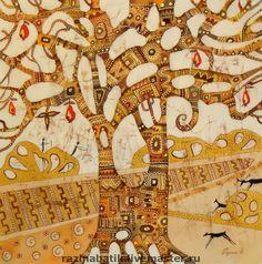 Купить Древо жизни(батик панно) - дерево жизни, деревья, этностиль, картина в подарок, Батик