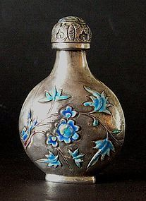 Chinese silver snuff bottle with enamel decoration