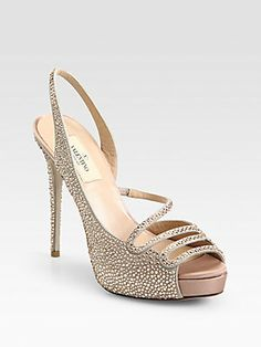 Valentino Crystal-Coated Suede Slingback Pumps