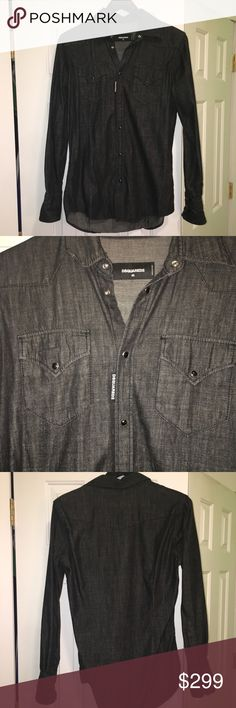 Dsquared2 Men's Denim Shirt . Black . Size 46IT Dsquared2 Men's Denim Shirt . Black-Gray color. Size 46 IT- us-S . Made In Italy . Brand new ! Please do not hesitate to ask questions . DSQUARED Shirts Casual Button Down Shirts