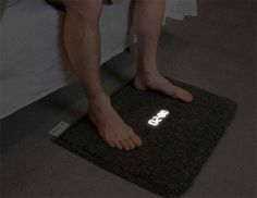 Carpet Alarm Clock A bedside carpet embedded with a LCD clock. To turn off its alarm, you must physically step on the carpet.