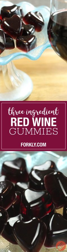 Three Ingredient Red Wine Gummies : Homemade gummy recipe that is the perfect adult late-night indulgence...trust us, they're amaaaazing.