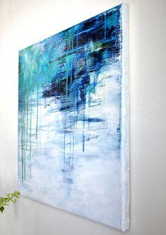 *************************** Drizzly ORIGINAL Abstraktes Gemälde Acryl auf Leinwand 40 cm x 40 cm Glanzfirnis *************************** Titel: Drizzly Größe: 40 cm x 40 cm, quadratisch Farbschema: kühle Farben, blau, grün, weiß, hell Stil: abstrakt, modern, minimalistisch Material: