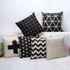2016 novo estilo sofá fronha de almofada preto e branco geométrica carro…