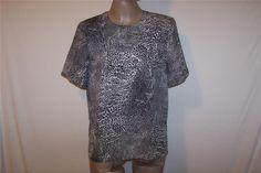 KATHY CHE Shirt Top Blouse Sz S Animal Print Short Sleeves Womens Career Work #KathyChe #Blouse #Career