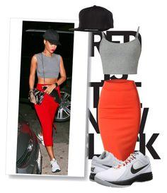 """Get the look:Rihanna"" by biia-biiu ❤ liked on Polyvore featuring Doublju, Flexfit, NIKE and Rihanna"