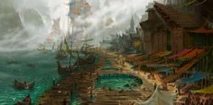 Town by firatsolhan on DeviantArt Fantasy landscape Fantasy art landscapes Fantasy village