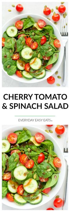Cherry Tomato & Spinach Salad - A quick, super healthy salad dressed with a delectable honey balsamic vinaigrette.   EverydayEasyEats.com