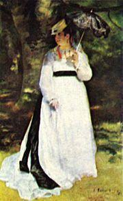 """A JOVEM CIGANA - Pierre Auguste Renoir:Com a guerra franco-prussiana, seus amigos pintores dispersaram-se e Renoir passou a se hospedar constantemente na casa do amigo Jules Le Couer. Foi na casa de Le Couer que Renoir conheceu Lise Trèhot que passou a ser sua modelo preferida durante um certo tempo. Entre as obras de destaque que Lise posou estão: """"Mulher com a sombrinha"""" (de 1867), """"A jovem Cigana"""" (de 1868) . #renoir#impressionista"""
